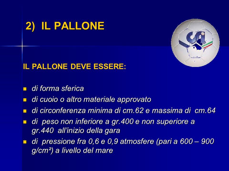 2) IL PALLONE IL PALLONE DEVE ESSERE: di forma sferica di forma sferica di cuoio o altro materiale approvato di cuoio o altro materiale approvato di c