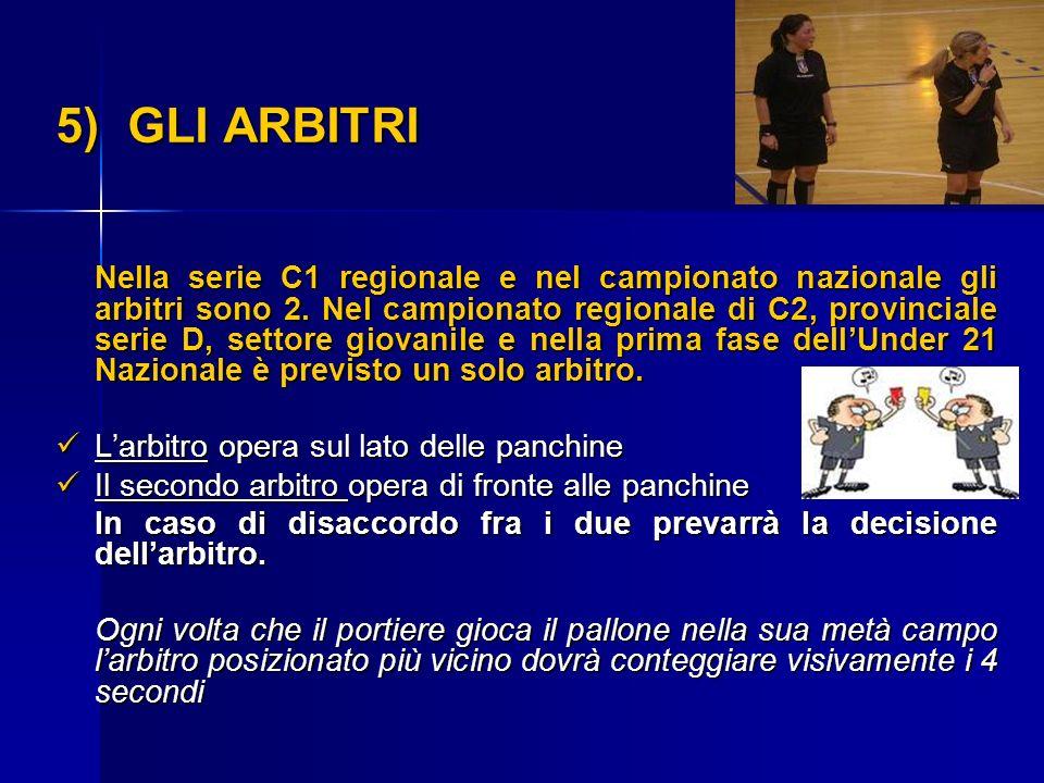 5) GLI ARBITRI Nella serie C1 regionale e nel campionato nazionale gli arbitri sono 2. Nel campionato regionale di C2, provinciale serie D, settore gi