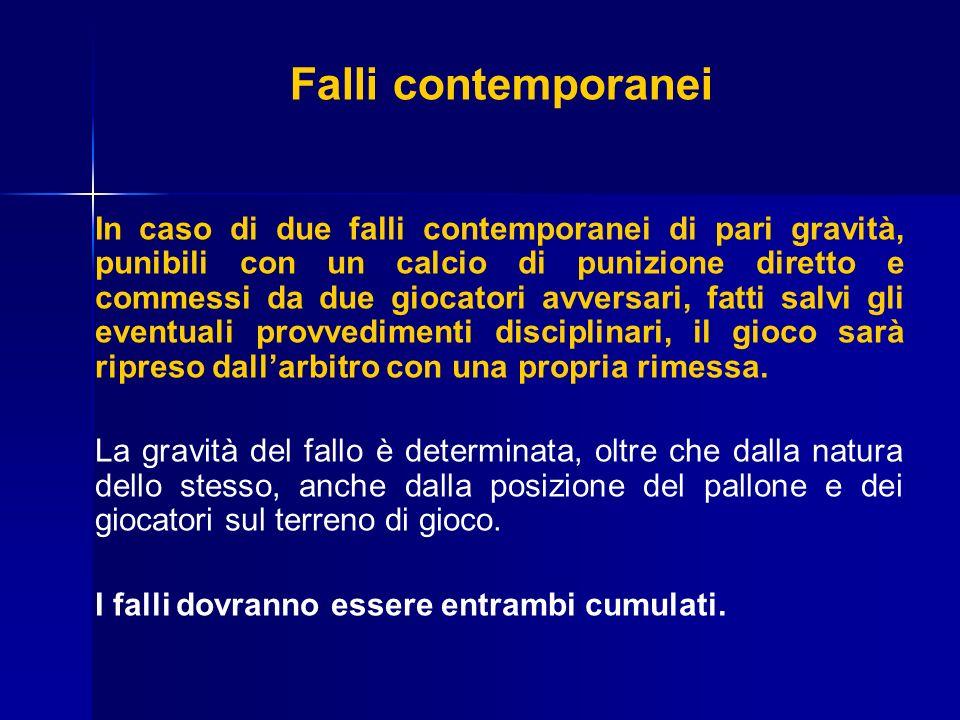 Falli contemporanei In caso di due falli contemporanei di pari gravità, punibili con un calcio di punizione diretto e commessi da due giocatori avvers