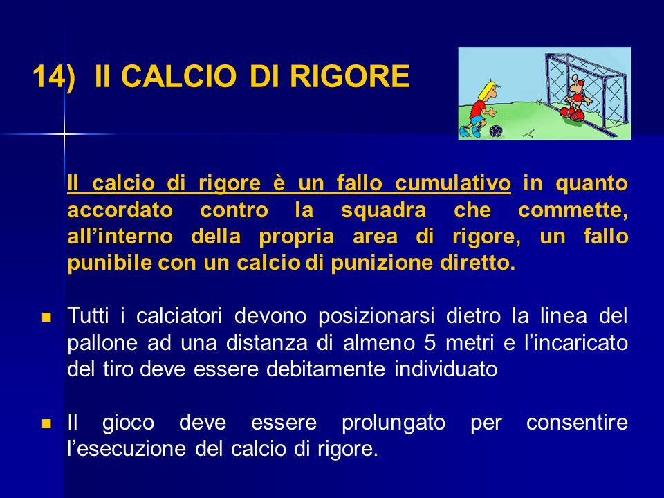 14) Il CALCIO DI RIGORE Il calcio di rigore è un fallo cumulativo in quanto accordato contro la squadra che commette, allinterno della propria area di