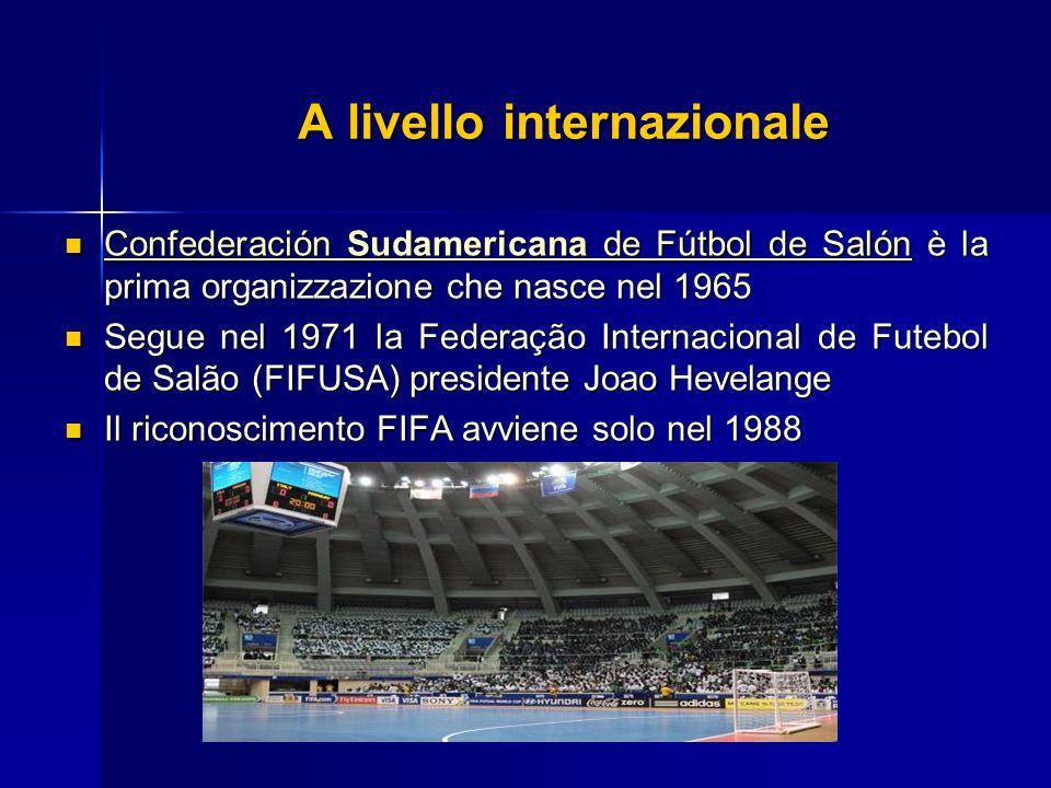 A livello internazionale Confederación Sudamericana de Fútbol de Salón è la prima organizzazione che nasce nel 1965 Confederación Sudamericana de Fútb