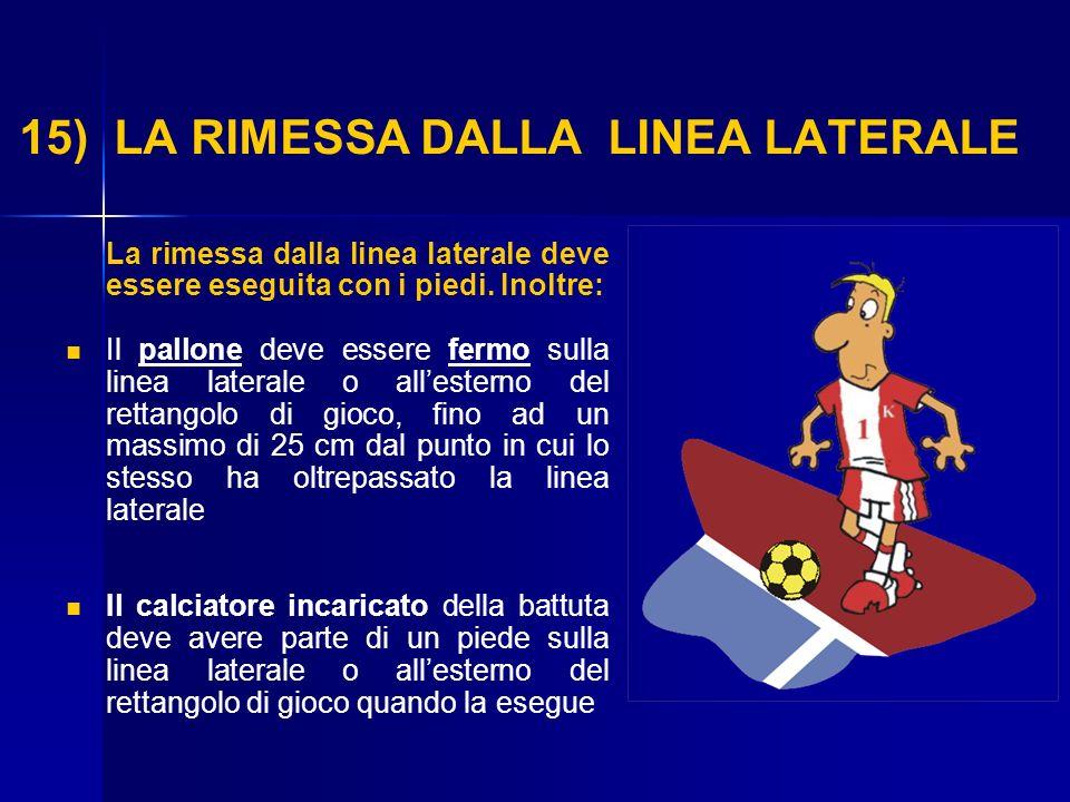 15) LA RIMESSA DALLA LINEA LATERALE La rimessa dalla linea laterale deve essere eseguita con i piedi. Inoltre: Il pallone deve essere fermo sulla line