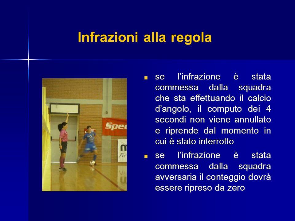 Infrazioni alla regola se linfrazione è stata commessa dalla squadra che sta effettuando il calcio dangolo, il computo dei 4 secondi non viene annulla