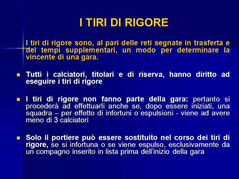 I TIRI DI RIGORE I tiri di rigore sono, al pari delle reti segnate in trasferta e dei tempi supplementari, un modo per determinare la vincente di una