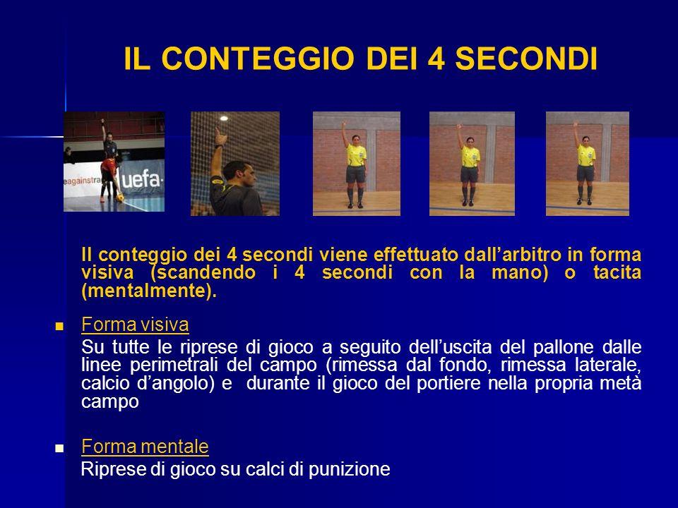 IL CONTEGGIO DEI 4 SECONDI Il conteggio dei 4 secondi viene effettuato dallarbitro in forma visiva (scandendo i 4 secondi con la mano) o tacita (menta