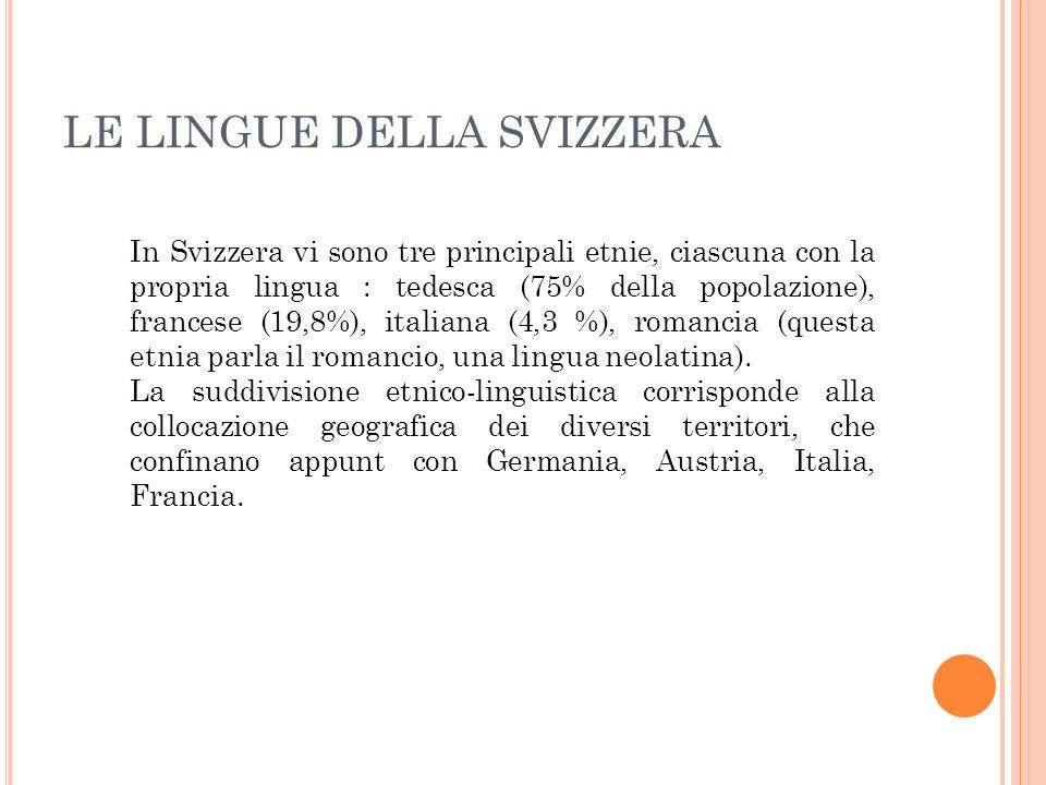 LE LINGUE DELLA SVIZZERA In Svizzera vi sono tre principali etnie, ciascuna con la propria lingua : tedesca (75% della popolazione), francese (19,8%),