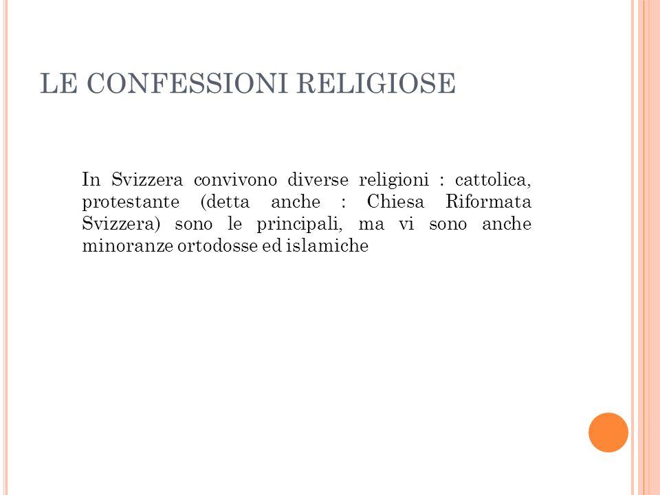 LE CONFESSIONI RELIGIOSE In Svizzera convivono diverse religioni : cattolica, protestante (detta anche : Chiesa Riformata Svizzera) sono le principali