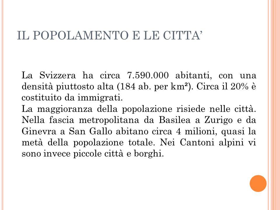 La Svizzera ha circa 7.590.000 abitanti, con una densità piuttosto alta (184 ab. per km ²). Circa il 20% è costituito da immigrati. La maggioranza del