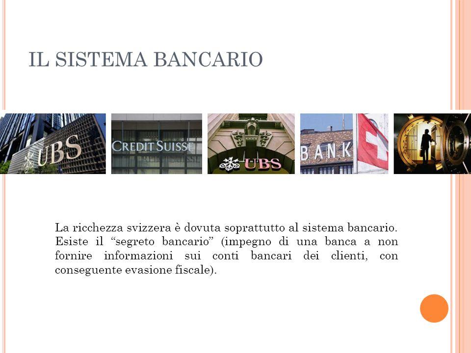 IL SISTEMA BANCARIO La ricchezza svizzera è dovuta soprattutto al sistema bancario. Esiste il segreto bancario (impegno di una banca a non fornire inf