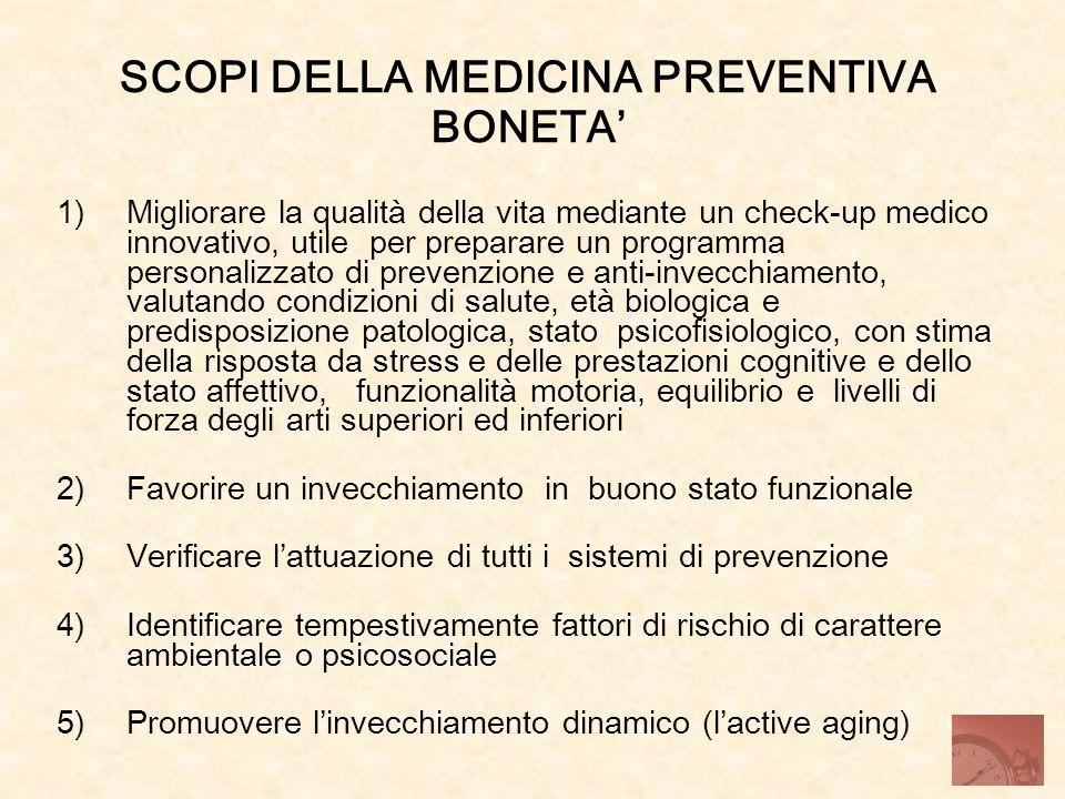 SCOPI DELLA MEDICINA PREVENTIVA BONETA 1)Migliorare la qualità della vita mediante un check-up medico innovativo, utile per preparare un programma per