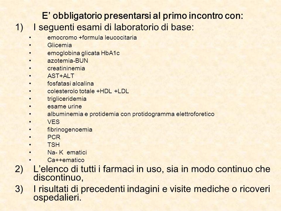 E obbligatorio presentarsi al primo incontro con: 1)I seguenti esami di laboratorio di base: emocromo +formula leucocitaria Glicemia emoglobina glicat