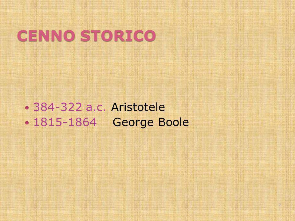 CENNO STORICO 384-322 a.c. Aristotele 1815-1864 George Boole 2