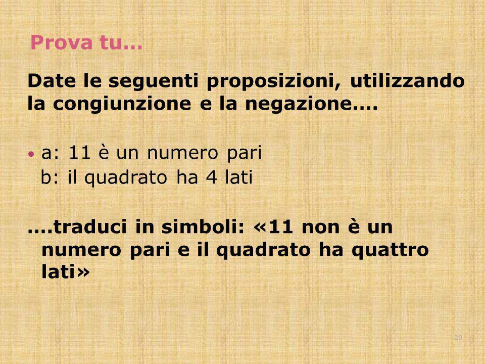Prova tu… Date le seguenti proposizioni, utilizzando la congiunzione e la negazione…. a: 11 è un numero pari b: il quadrato ha 4 lati ….traduci in sim