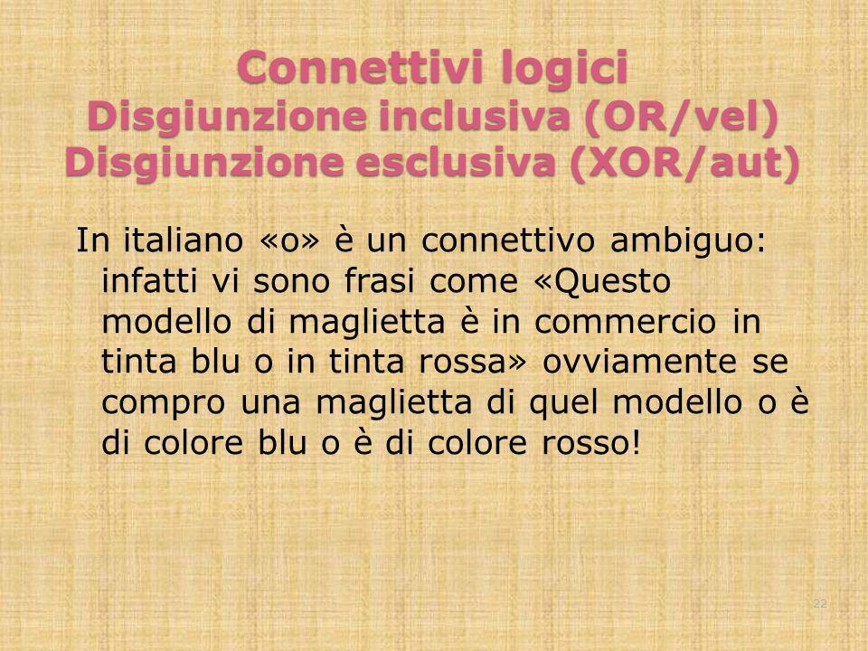 Connettivi logici Disgiunzione inclusiva (OR/vel) Disgiunzione esclusiva (XOR/aut) In italiano «o» è un connettivo ambiguo: infatti vi sono frasi come