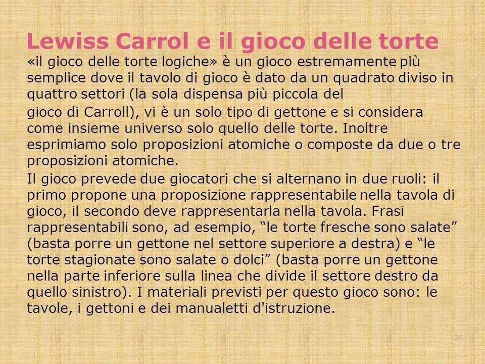 Lewiss Carrol e il gioco delle torte «il gioco delle torte logiche» è un gioco estremamente più semplice dove il tavolo di gioco è dato da un quadrato