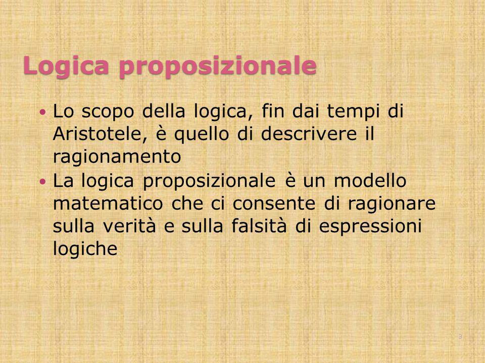Logica proposizionale Lo scopo della logica, fin dai tempi di Aristotele, è quello di descrivere il ragionamento La logica proposizionale è un modello