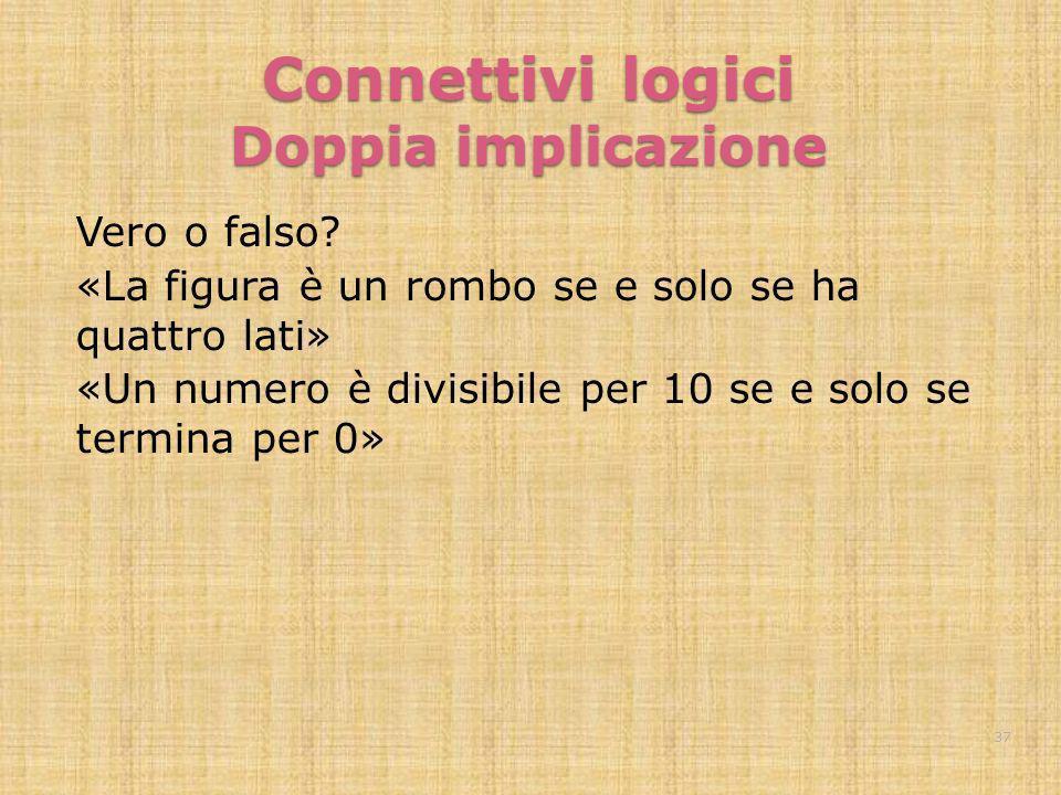 Connettivi logici Doppia implicazione Vero o falso? «La figura è un rombo se e solo se ha quattro lati» «Un numero è divisibile per 10 se e solo se te