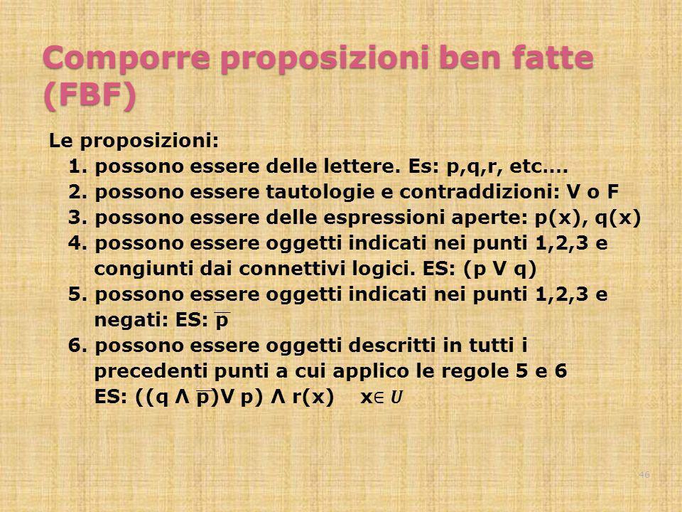 Comporre proposizioni ben fatte (FBF) 46