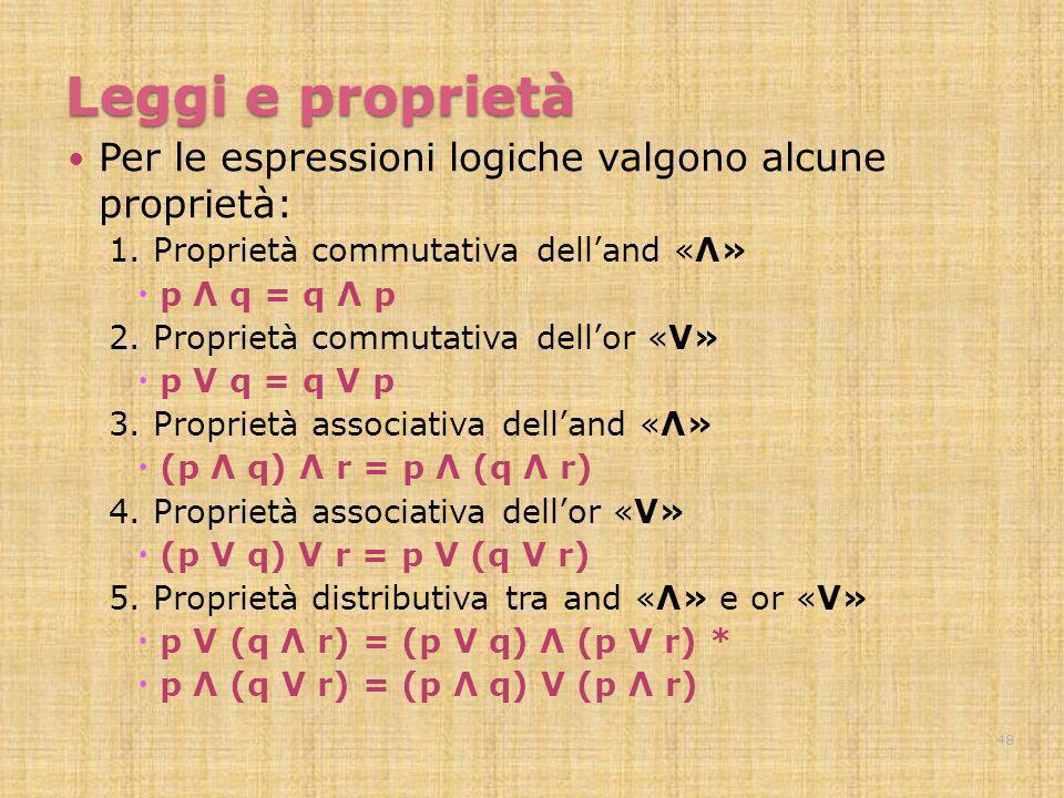 Leggi e proprietà Per le espressioni logiche valgono alcune proprietà: 1. Proprietà commutativa delland «Λ» p Λ q = q Λ p 2. Proprietà commutativa del