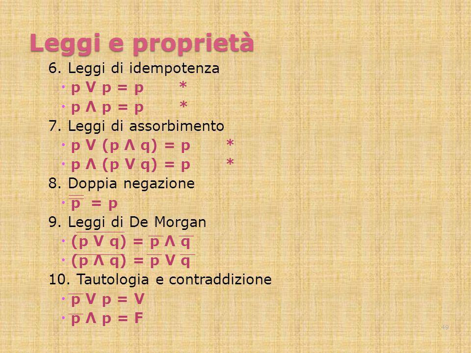 Leggi e proprietà 6. Leggi di idempotenza p V p = p * p Λ p = p * 7. Leggi di assorbimento p V (p Λ q) = p * p Λ (p V q) = p * 8. Doppia negazione p =