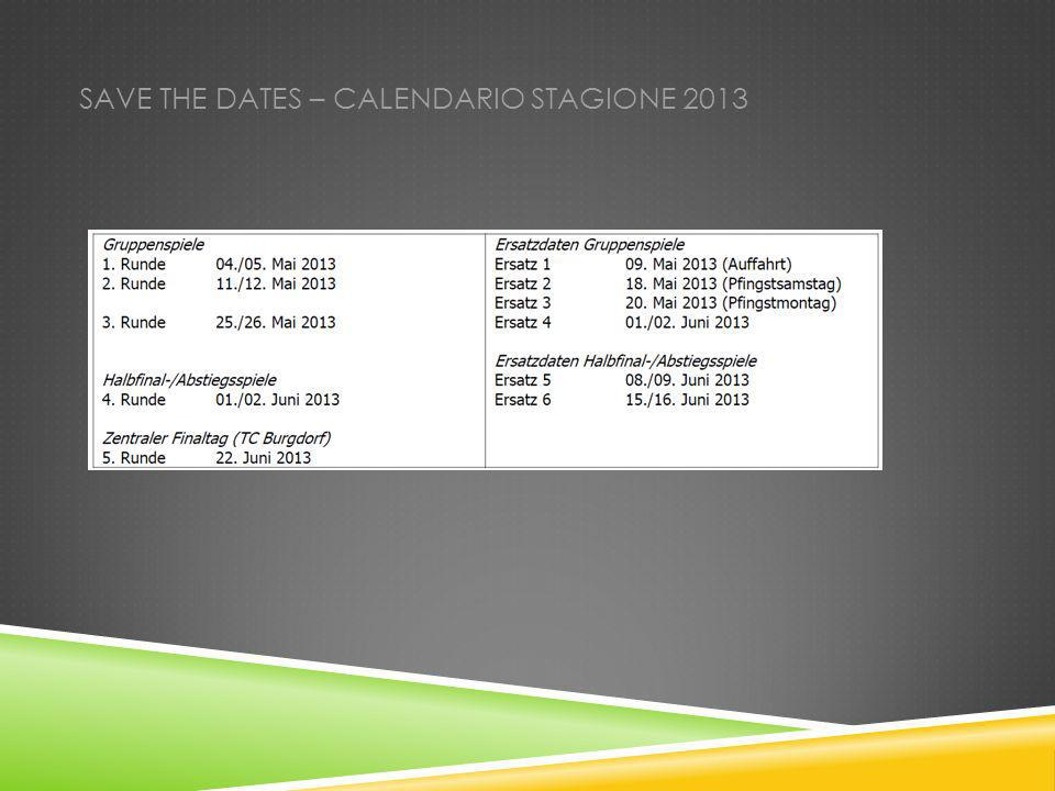 SAVE THE DATES – CALENDARIO STAGIONE 2013
