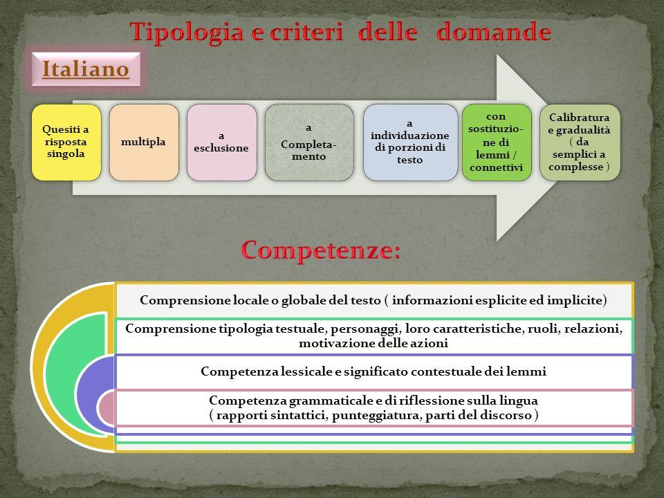 PUNTEGGIO COMPLESSIVO Dati classe campione 46,4% Dati scuola 64,1% Dati Basilicata 56,1% SUD-ISOLE 50% Italia 56,1% VALORI MEDI