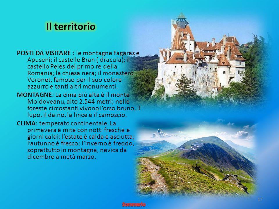 POSTI DA VISITARE : le montagne Fagaras e Apuseni; il castello Bran ( dracula); il castello Peles del primo re della Romania; la chiesa nera; il monastero Voronet, famoso per il suo colore azzurro e tanti altri monumenti.