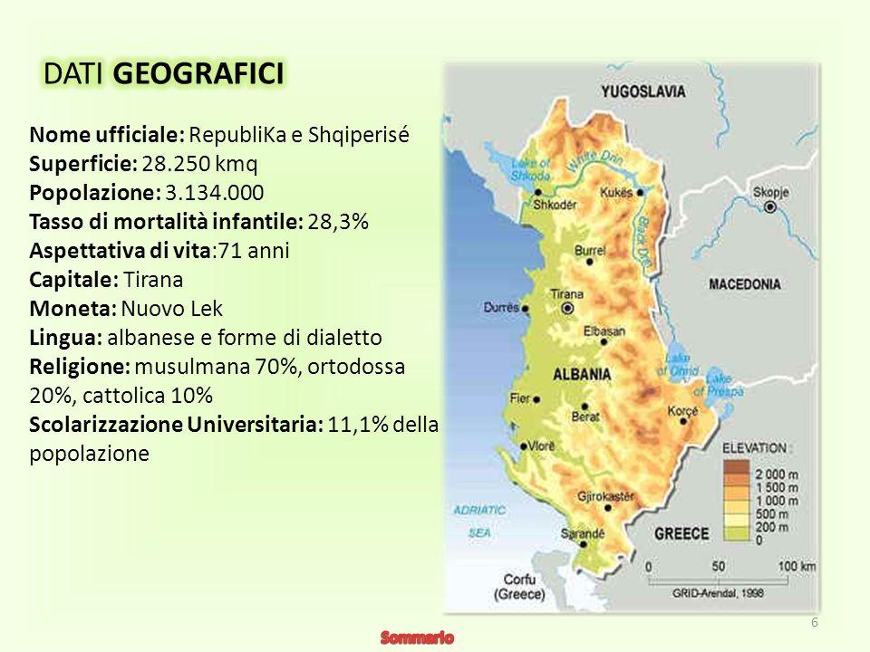 L Albania è una piccola nazione, la cui superficie è vasta circa un decimo di quella dellItalia ed è situata nella parte meridionale della penisola balcanica.