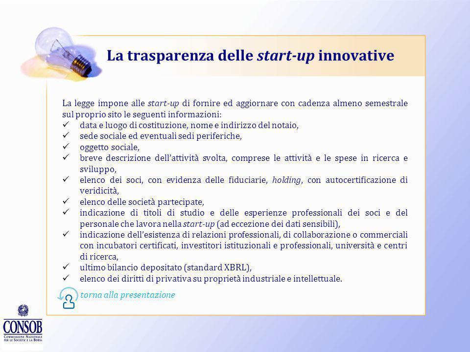 Gli incubatori di start-up Affinché possano fornire un buon supporto alle start-up gli incubatori devono possedere alcuni requisiti stabiliti dal Decr