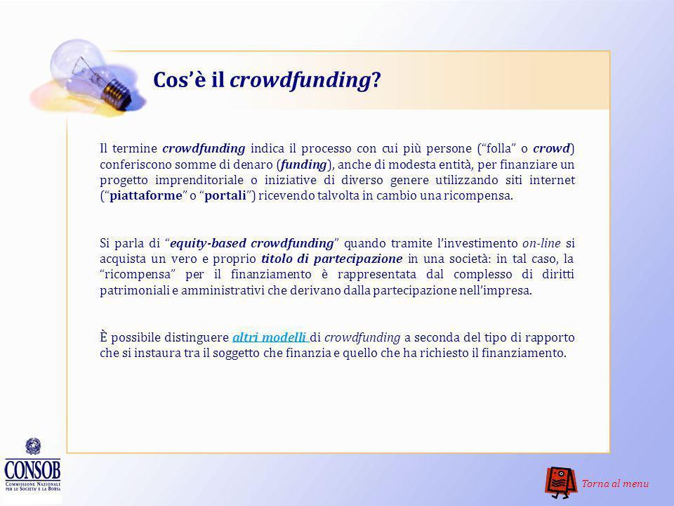 Menu Cosè il crowdfunding? Comè disciplinato il fenomeno in Italia? Cosa sono le start-up innovative? Dove posso trovare le informazioni sulle offerte