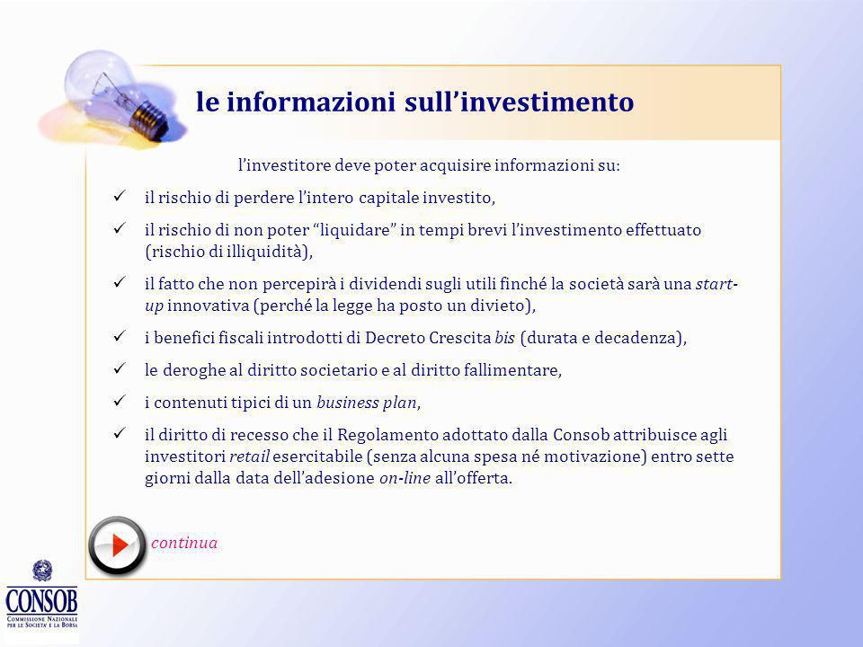 le informazioni sul portale linvestitore deve essere informato su: chi gestisce il portale (chi controlla tale soggetto e chi svolge funzioni di ammin