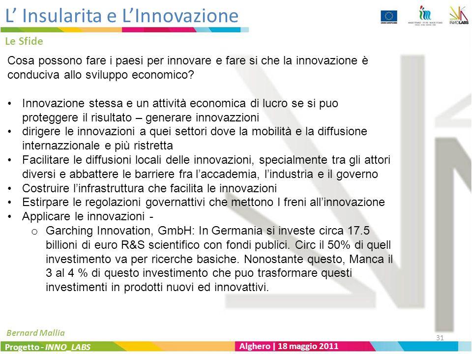 L Insularita e LInnovazione Le Sfide Progetto - INNO_LABS Alghero | 18 maggio 2011 Bernard Mallia Cosa possono fare i paesi per innovare e fare si che la innovazione è conduciva allo sviluppo economico.