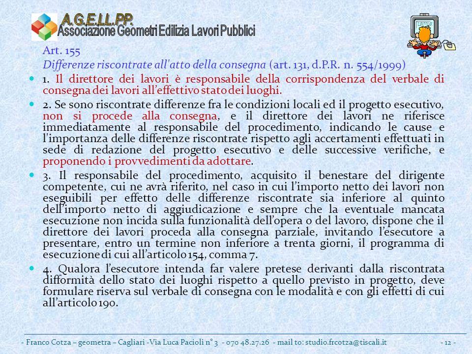Art. 155 Differenze riscontrate all atto della consegna (art.