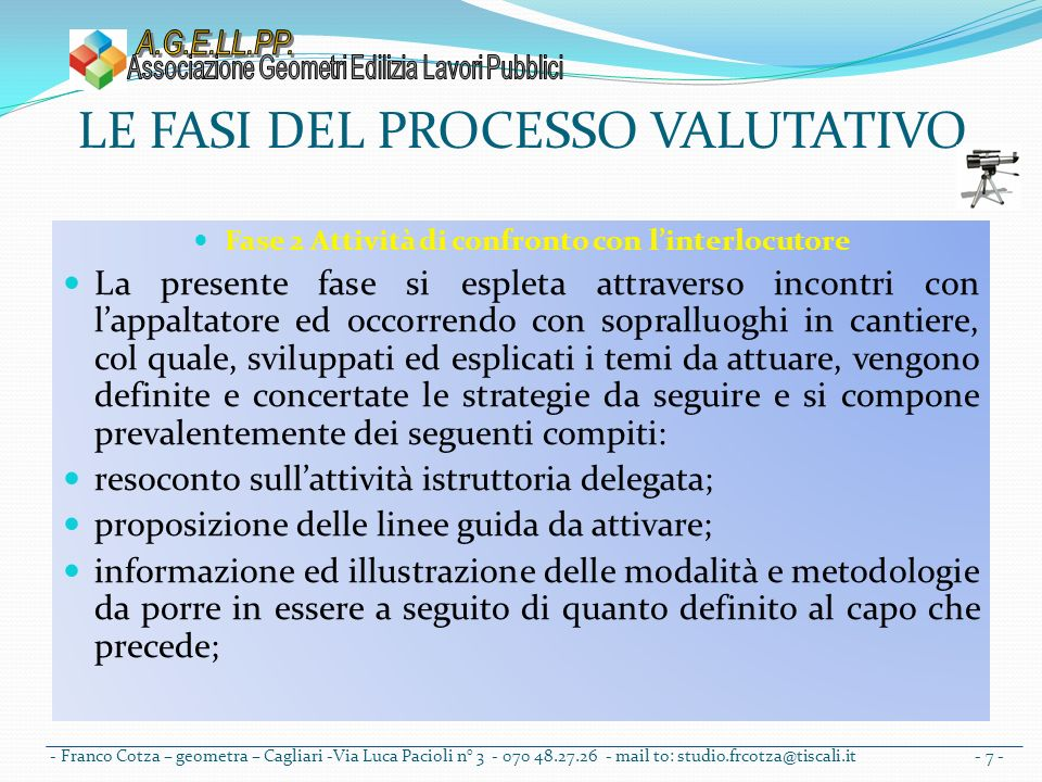 LE FASI DEL PROCESSO VALUTATIVO Fase 3 Azioni delle scelte metodologiche operative E prevista azione specifica da porsi in essere laddove ricorrano gli estremi per correttamente applicare le disposizioni di cui alla 163/2006; DPR 554/99 e DM 145/2000 ed ora il D.P.R.
