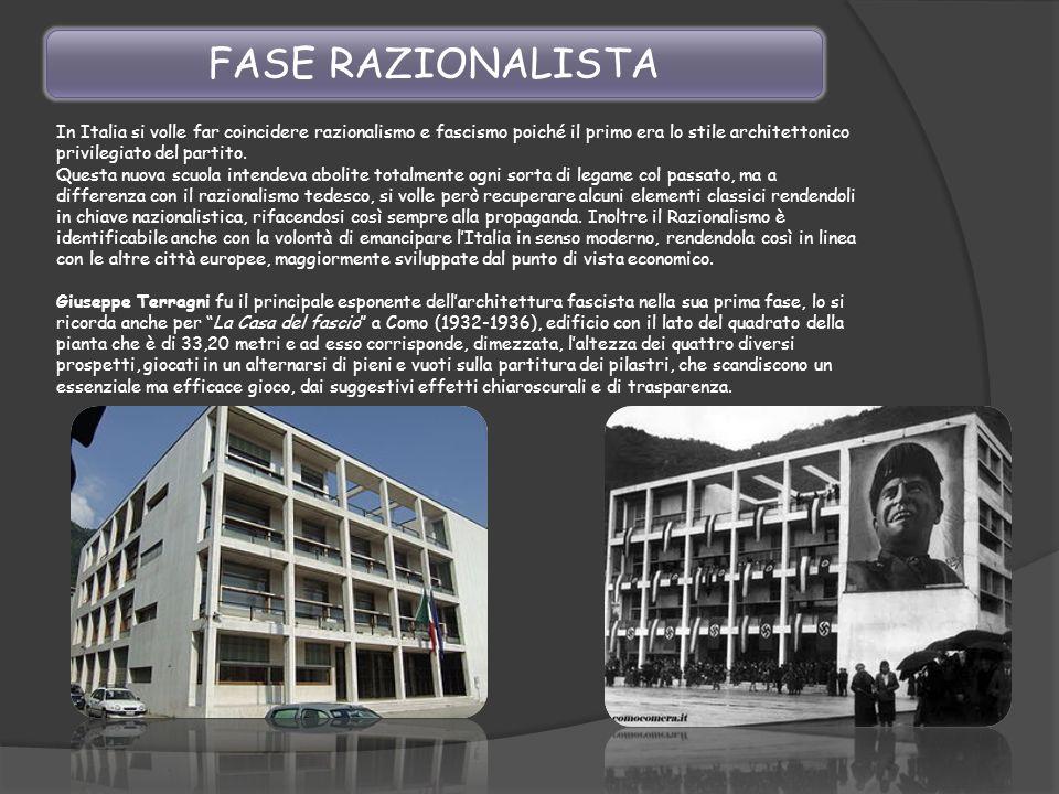 In Italia si volle far coincidere razionalismo e fascismo poiché il primo era lo stile architettonico privilegiato del partito. Questa nuova scuola in