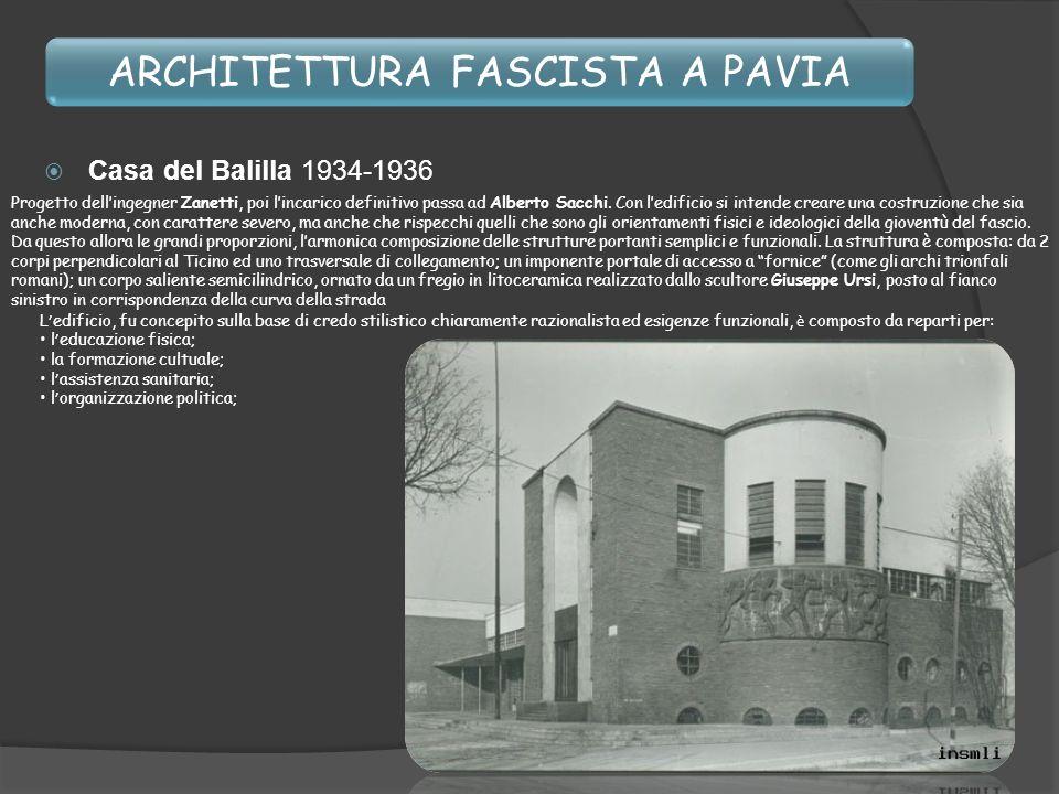 ARCHITETTURA FASCISTA A PAVIA Casa del Balilla 1934-1936 L edificio, fu concepito sulla base di credo stilistico chiaramente razionalista ed esigenze