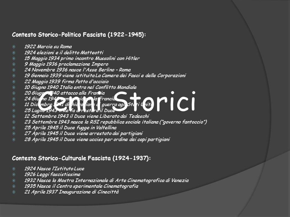 Contesto Storico-Politico Fascista (1922-1945): 1922 Marcia su Roma 1924 elezioni e il delitto Matteotti 15 Maggio 1934 primo incontro Mussolini con H