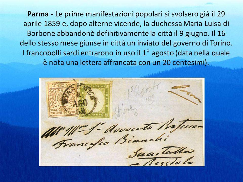 Parma - Le prime manifestazioni popolari si svolsero già il 29 aprile 1859 e, dopo alterne vicende, la duchessa Maria Luisa di Borbone abbandonò defin