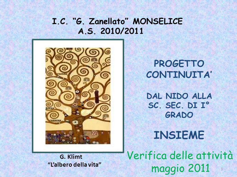 I.C. G. Zanellato MONSELICE A.S. 2010/2011 G. Klimt Lalbero della vita PROGETTO CONTINUITA DAL NIDO ALLA SC. SEC. DI I° GRADO INSIEME Verifica delle a
