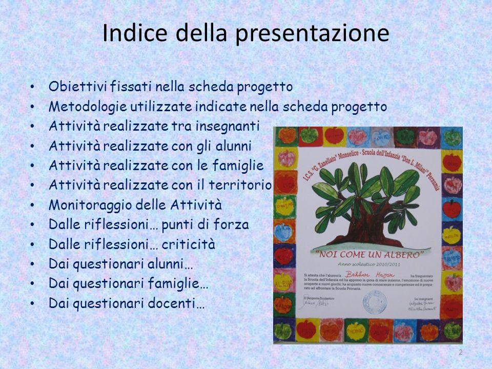Indice della presentazione Obiettivi fissati nella scheda progetto Metodologie utilizzate indicate nella scheda progetto Attività realizzate tra inseg