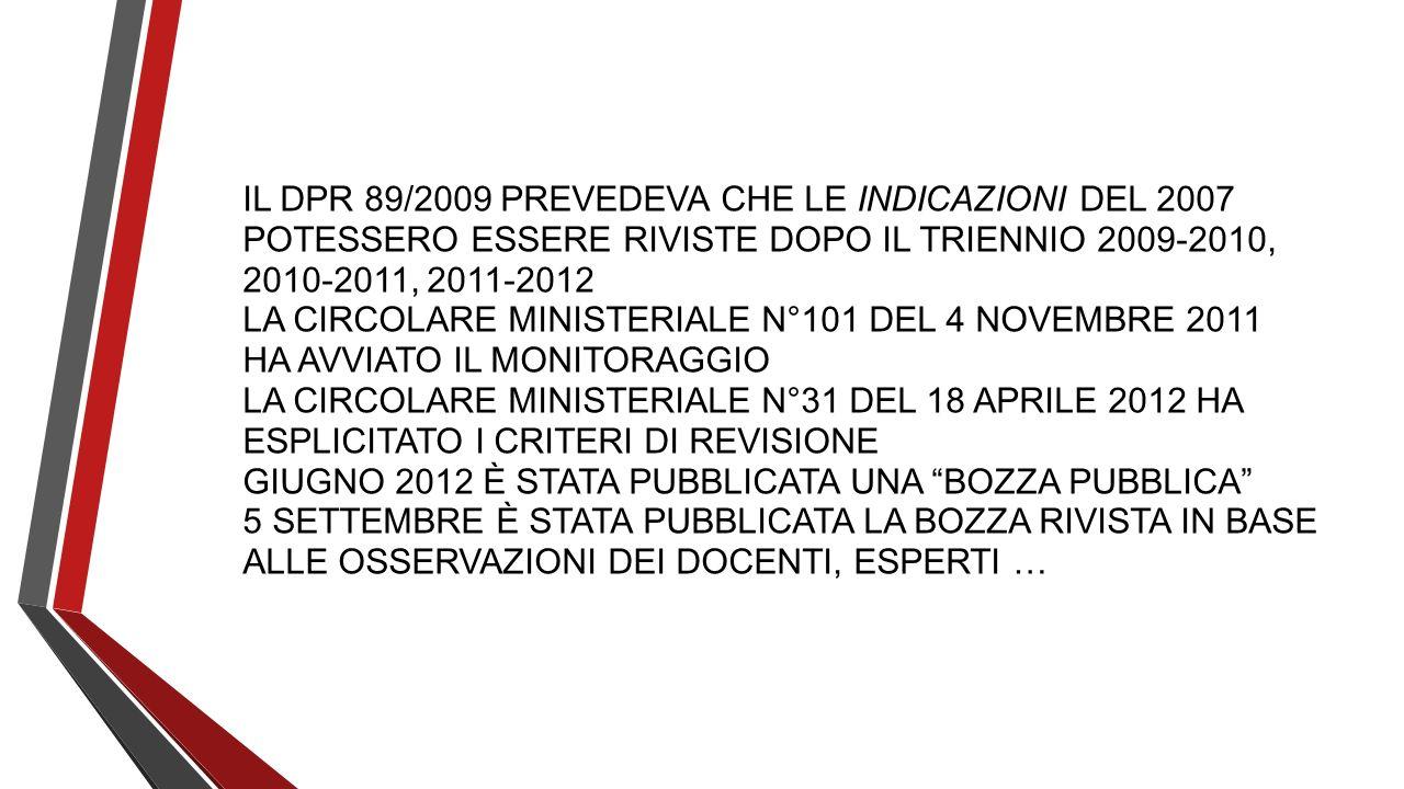 IL DPR 89/2009 PREVEDEVA CHE LE INDICAZIONI DEL 2007 POTESSERO ESSERE RIVISTE DOPO IL TRIENNIO 2009-2010, 2010-2011, 2011-2012 LA CIRCOLARE MINISTERIA