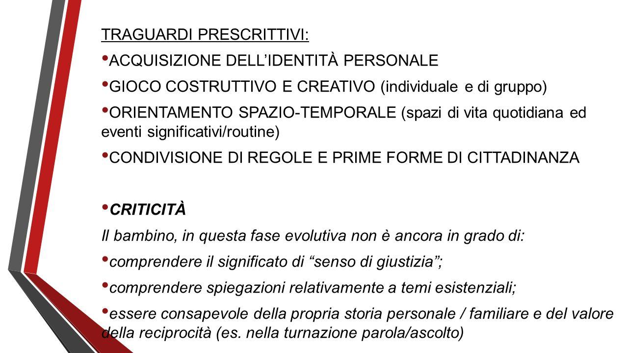 TRAGUARDI PRESCRITTIVI: ACQUISIZIONE DELLIDENTITÀ PERSONALE GIOCO COSTRUTTIVO E CREATIVO (individuale e di gruppo) ORIENTAMENTO SPAZIO-TEMPORALE (spaz