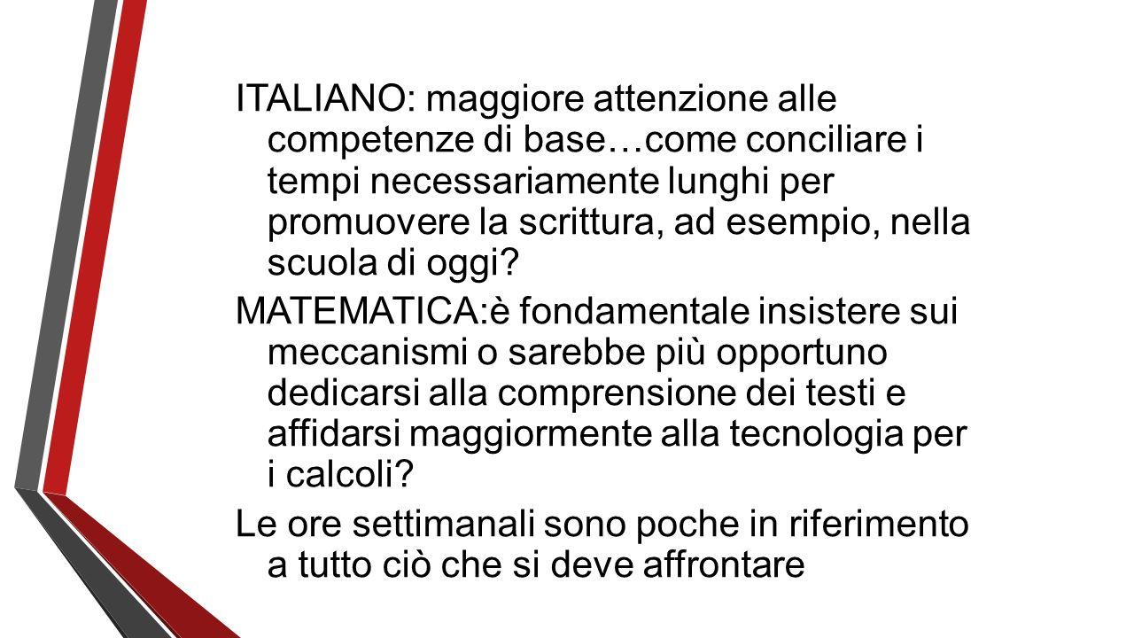 ITALIANO: maggiore attenzione alle competenze di base…come conciliare i tempi necessariamente lunghi per promuovere la scrittura, ad esempio, nella sc