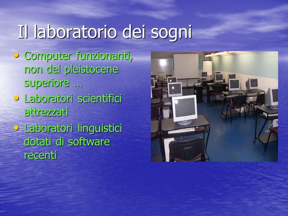 Il laboratorio dei sogni Computer funzionanti, non del pleistocene superiore … Computer funzionanti, non del pleistocene superiore … Laboratori scient