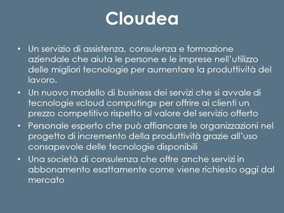 Cloudea Un servizio di assistenza, consulenza e formazione aziendale che aiuta le persone e le imprese nellutilizzo delle migliori tecnologie per aumentare la produttività del lavoro.