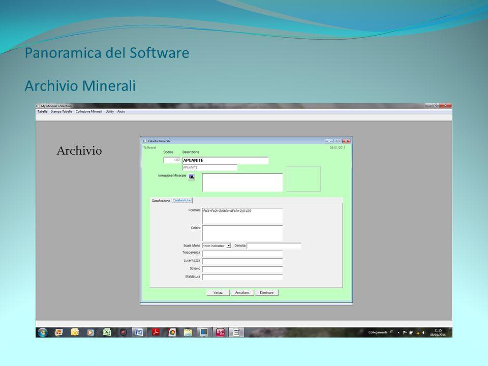 Panoramica del Software Archivio Minerali Archivio