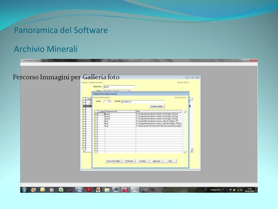 Panoramica del Software Archivio Minerali Percorso Immagini per Galleria foto