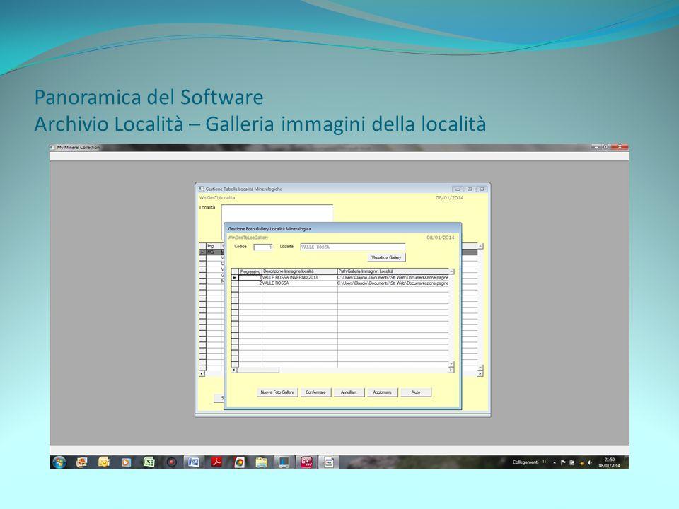 Panoramica del Software Archivio Località – Galleria immagini della località