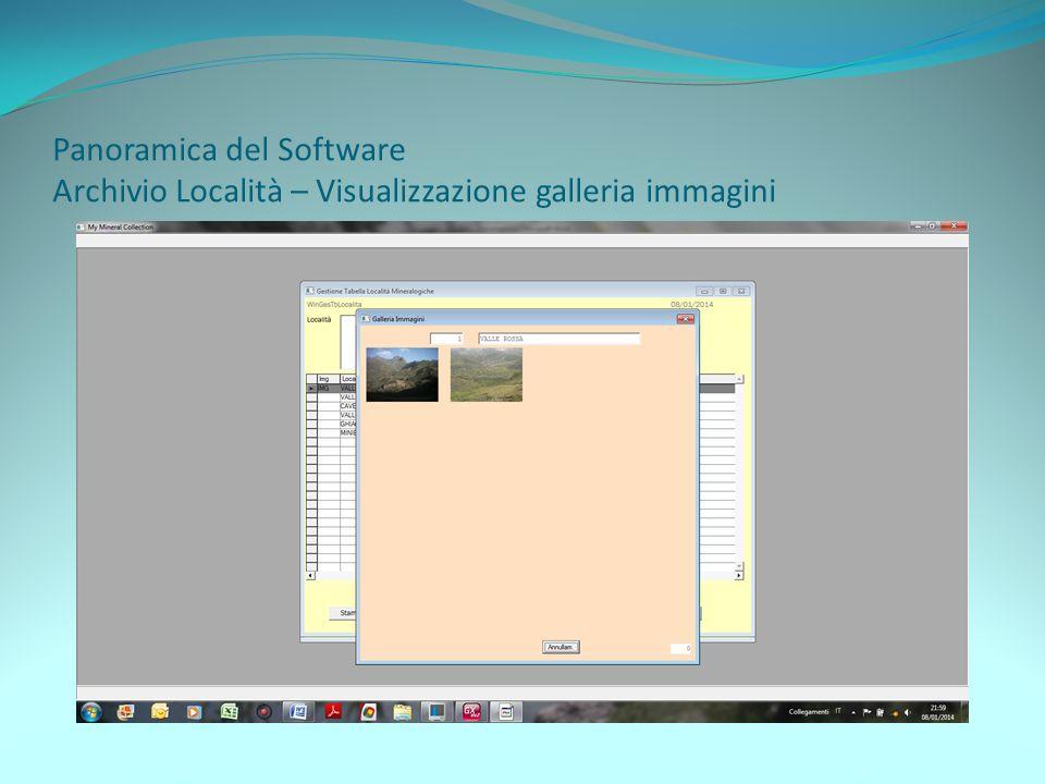 Panoramica del Software Archivio Località – Visualizzazione galleria immagini