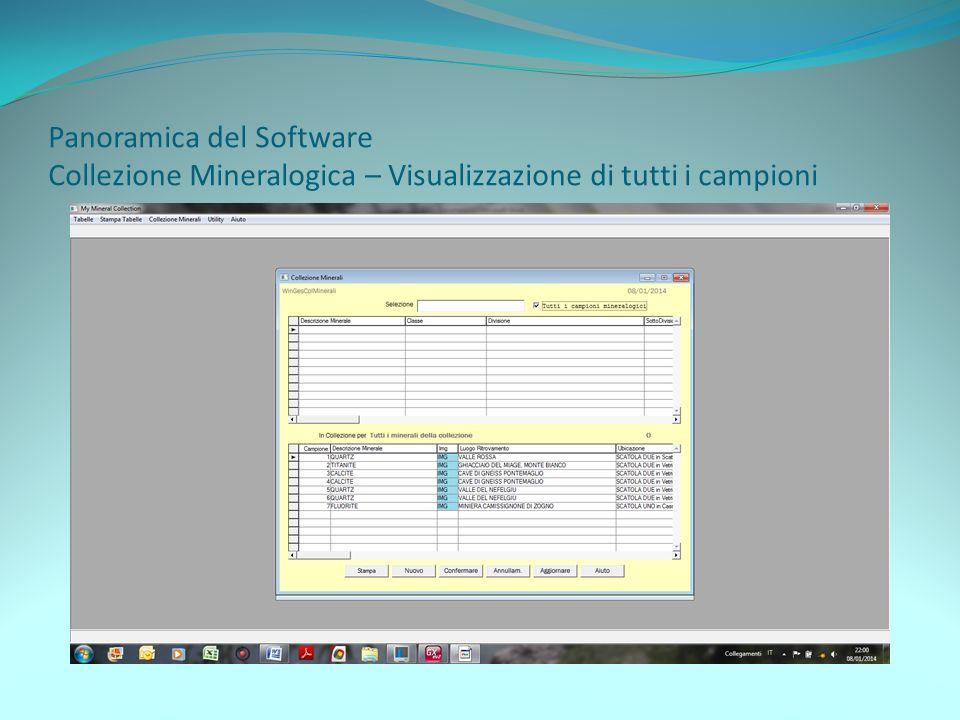 Panoramica del Software Collezione Mineralogica – Visualizzazione di tutti i campioni